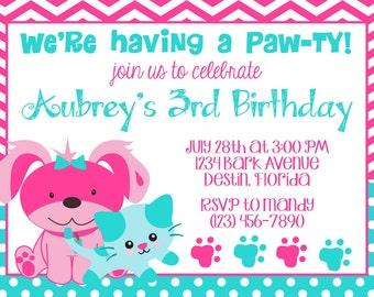 Puppy & Kitty 5x7 Invitation - Girl Birthday Party - PRINTABLE