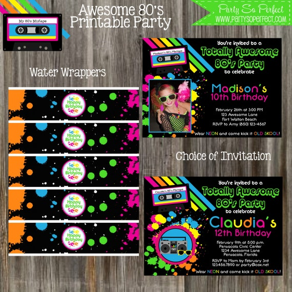 Awesome 80's Retro Party Package Girl DIY Printable