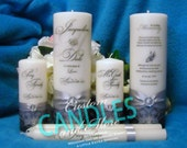Unity Candle Complete Set with Memorial Candle Personalized Flourish Design - 10 colors