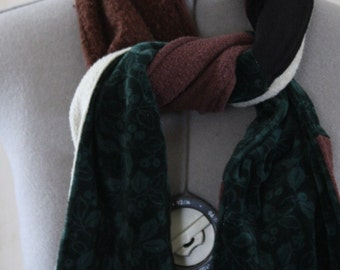 Reversible Patchwork Scarf: Upcycled, Eco friendly, OOAK