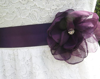 flower girl sash, eggplant (deep purple) chiffon flower sash, wedding flower sash, bridesmaid sash