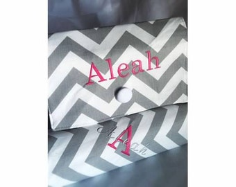 Gift Set-----Boutique Diaper Wipe Clutch and Changing Pad ---Chevron-