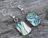 Paua Rectangle Shells . Abalone . Earrings . Silver