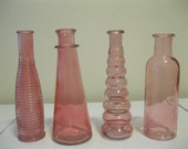 Four Pink Decorative Colored glass bottles, floral Bud vase, vintage inspired, SHABBY CHIC, Home Decor, RUSTIC wedding