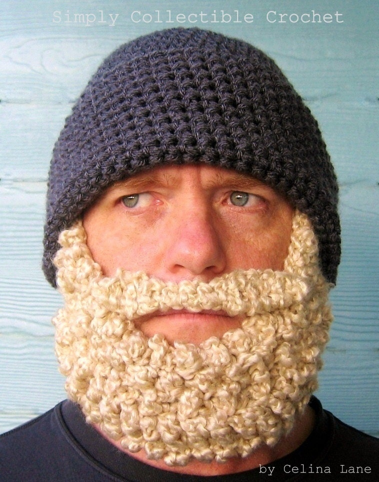 Crochet Hat Patterns Beanie : Crochet Hat Pattern Beard Hat PATTERN Beanie Santa Claus