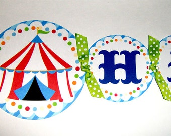 Circus Birthday Banner in Blue