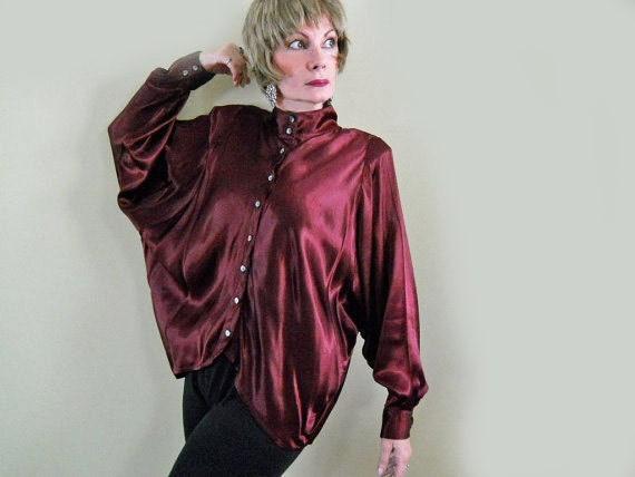 Satin Blouse 80s Vintage Burgundy Blouse Batwing Sleeves