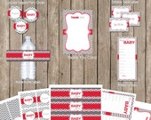 Neutral red and gray chevron baby shower party package, red and gray, baby shower, chveron, printable,digital file (INSTANT DOWNLOAD)
