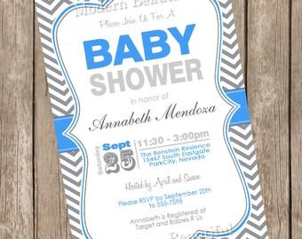 Boy Baby Shower Invitation Blue and Grey Chevron printable invitation 20121214-K1-2
