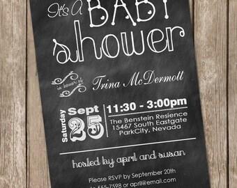 Chalkboard baby shower invitation, chalkboard, typography, printable invitation 20130118-K1-4A