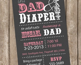 Dad diaper baby shower invitation, pink, grey, typography, diaper shower invitation, printable invitation