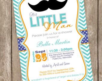 Chevron Mustache Baby Shower Invitation Moustache Little Man Invitation Teal, Blue, Orange