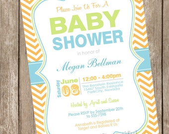 Neutral baby shower invitation, chevon, blue, orange, green, printable invitation