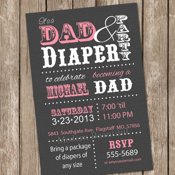 dad diaper baby shower invitation pink grey typography diaper