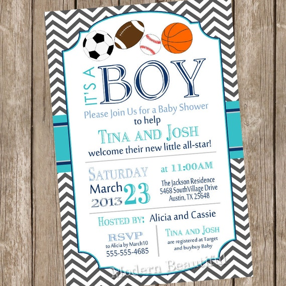 chevron all star it's a boy baby shower invitation,
