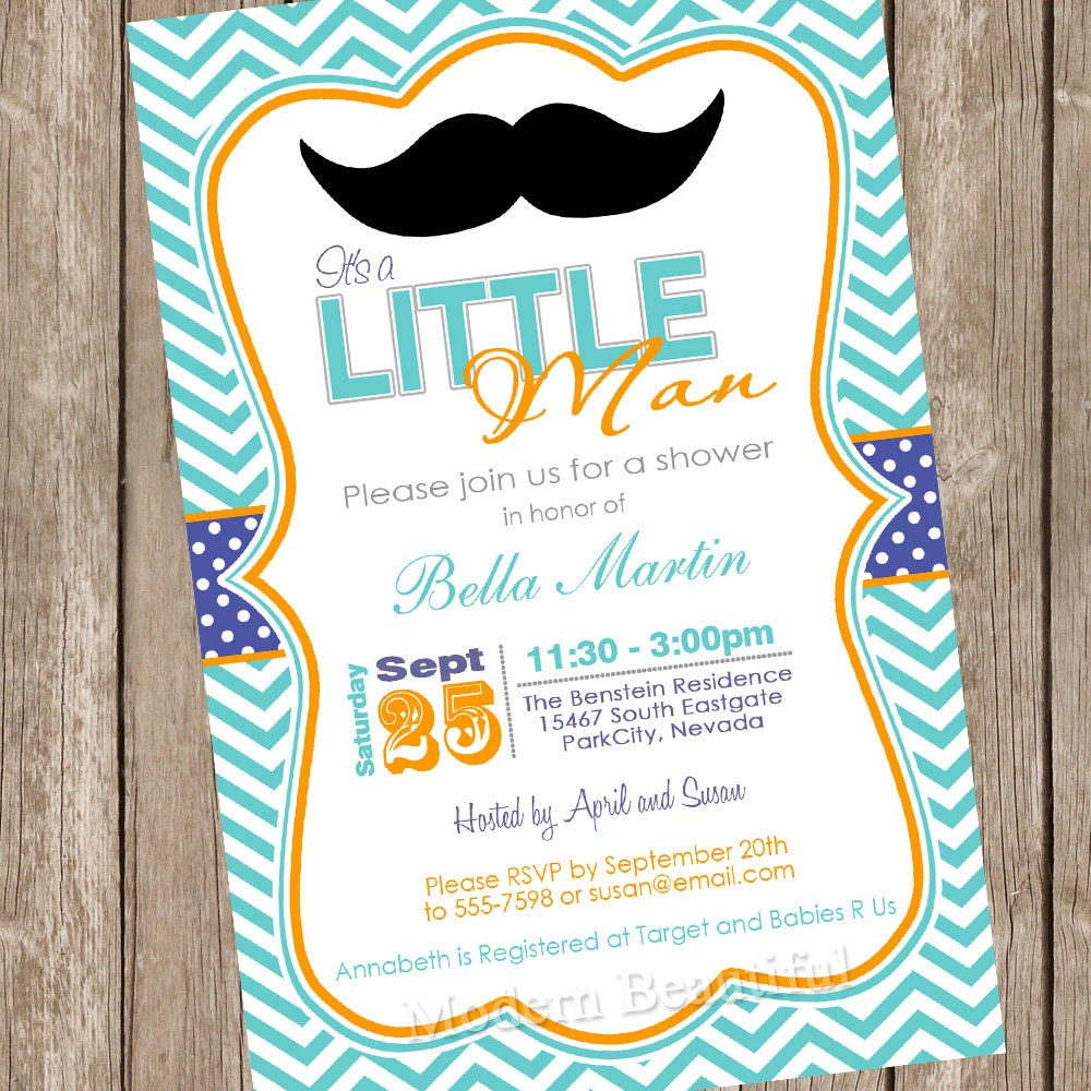 chevron mustache baby shower invitation moustache little man