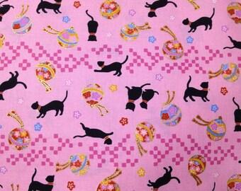 Half yard Cat and Cherry blossom Sakura printed kimono cotton Japanese fabric cute pink color