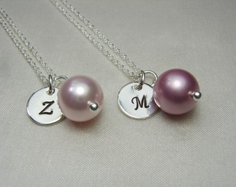 Pearl Bridesmaid Jewelry Set of 5 Monogram Necklaces Pearl Bridesmaid Necklace Initial Necklace Bridesmaid Gift Wedding Jewelry Gifts