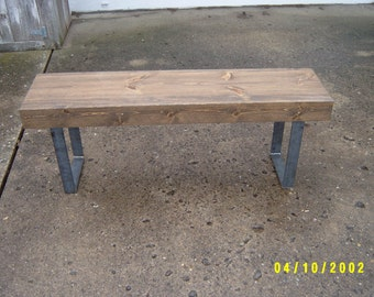entryway bench, bench, furniture, tv stand, coffee table, dining table, wood furniture, mudroom bench, hallway bench, steel legs, metal legs