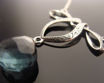 Teal Blue Quartz Bow Sterling Silver Necklace