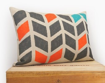 12x18 Chevron Pillow case | 30x45 Hand Printed Decorative Cushion Cover | Geometric Arrows in Charcoal Grey, Orange, Turquoise & Beige