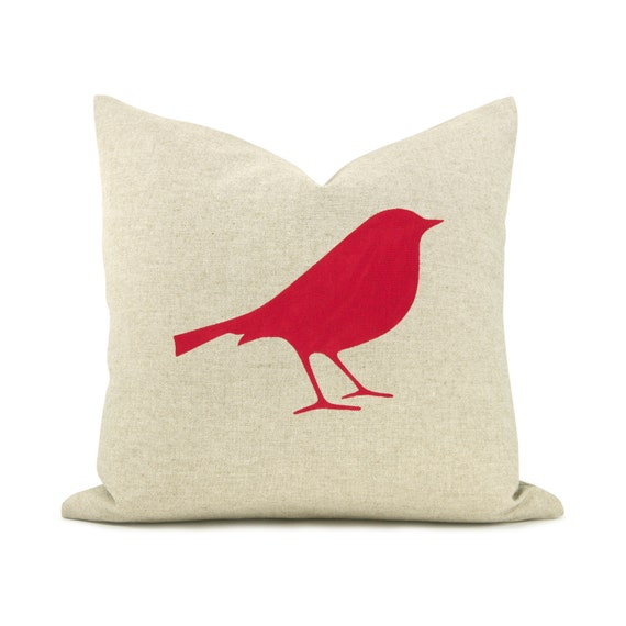 16x16 decorative throw pillow Bird pillow cover Modern