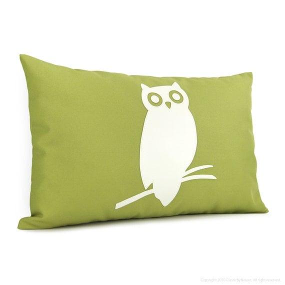 Owl pillow - Outdoor pillow cover - Patio decor - Off white and apple green owl applique pillow - 12x18 lumbar pillow cover