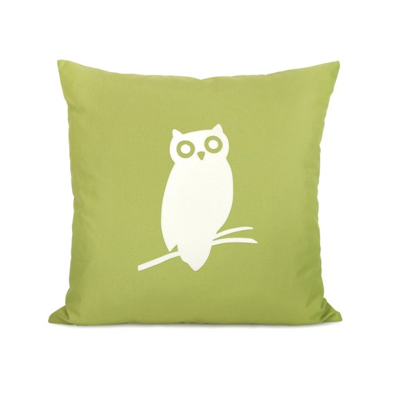 RESERVED for smurphsko - 18x18 outdoor owl pillow cover - Patio decor - Summer decorations - Owl applique cushion cover in green and white