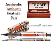 Top of the line feather pen Amherst rollberball or fountain style available