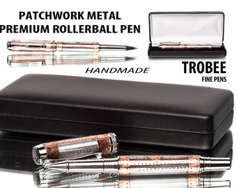 Steampunk pen with metal strips - unique rollerball  (you pick which) with black titanium top seller at the best pen shop  writes  smooth