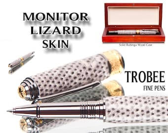 Monitor Lizard skin Rollerball Pen, exotic gift for someone special. High end writing instrument