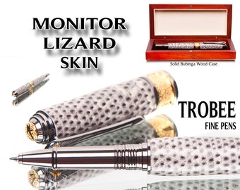 Badass Writing Gift Handcrafted Pen Monitor Lizard skin Rollerball Pen, exotic gift for writer. High end writing instrument  cool pen