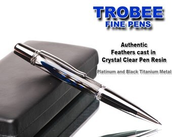 Gift idea, Luxury genuine feather pen, ballpoint for easy writing, cast in crystal clear resin
