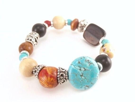 Fall Trending, Orange, Wood, Turquoise, Black, Stone, Stretch Bracelet