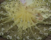 2 Yards Lace Trim Green White Flowers Embroidered Deep Light Yellow Lace 7.48 Inches Wide