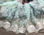 2 Yards Pale Green Tulle Lace Trim Beige Flower Embroidered Lace 7 Inches Wide - Lacebeauty
