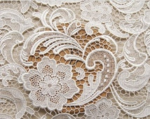 Graceful White Venice Lace Fabric Crocheted Hollowed Out Fabric 35 Inches Wide 1/2 Yard For Wedding Dress Veil Costume Supplies