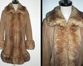 SALE Boho SHEARLING Sheepskin Fur Trim Russian Princess Softest Suede Leather Coat Jacket Vintage 70s M