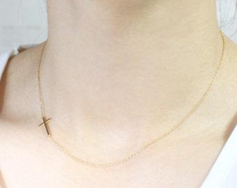 Sideways Cross Necklace - Off Centered Cross - S2268-3