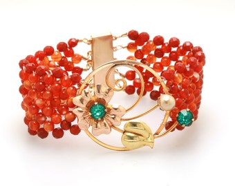 Hand Woven Burnt Orange Agate Flower Bracelet with Filigree Clasp