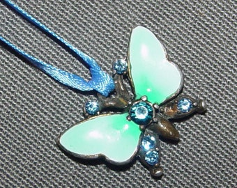 Sale-Vintage Cloisonne Butterfly Necklace- Boho Chic Fairy Girl- 30 inch