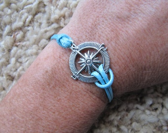 Made in the USA -  Compass Nautical Karma Friendship Baby Blue Charm Bracelet