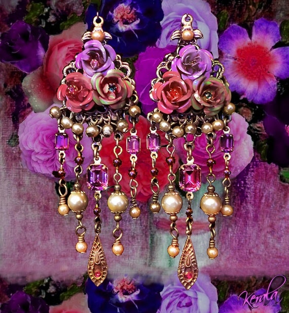 Hand Painted Rose Chandelier Earrings- Renaissance Rose, Amethyst Jewels and Glass Pearls Ornate Victorian Jewelry-MTO