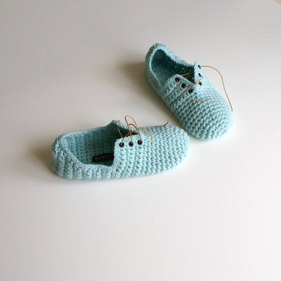 Crochet Slippers - Unisex Lace up style slippers in Misty Jade