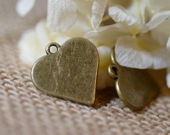 10pcs 15mm  Antiqued Bronze Color  Heart  Shape Pendant/cameo settings