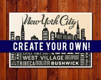Personalized Art. Typographic Skyline Print , Family Art, Custom Wedding Gift , City Skyline, Nursery Art