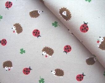Japanese Fabric Cotton Kokka - Beetle and Hedgehog - half yard