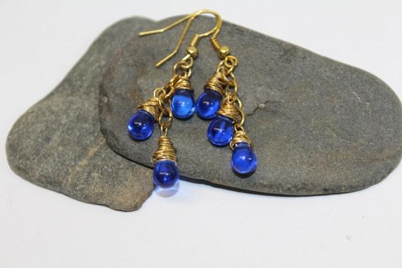 Gold Wire Wrapped BlueTear  Drop Dangle Earrings