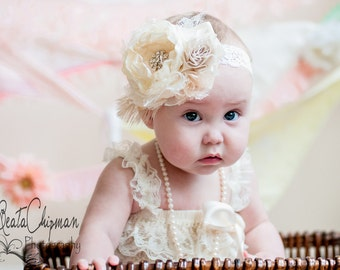 Ivory Baby Headband Baptism Christening Hair Accessories Toddler Flower Girl Bow Kids Lace