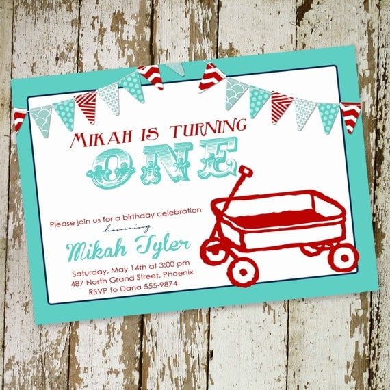 birthday party invitation little red wagon baby boy shower baptism christening birth announcement first (item 253) shabby chic invitations